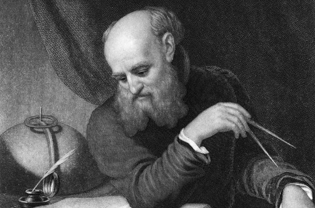 Galileo reading a book