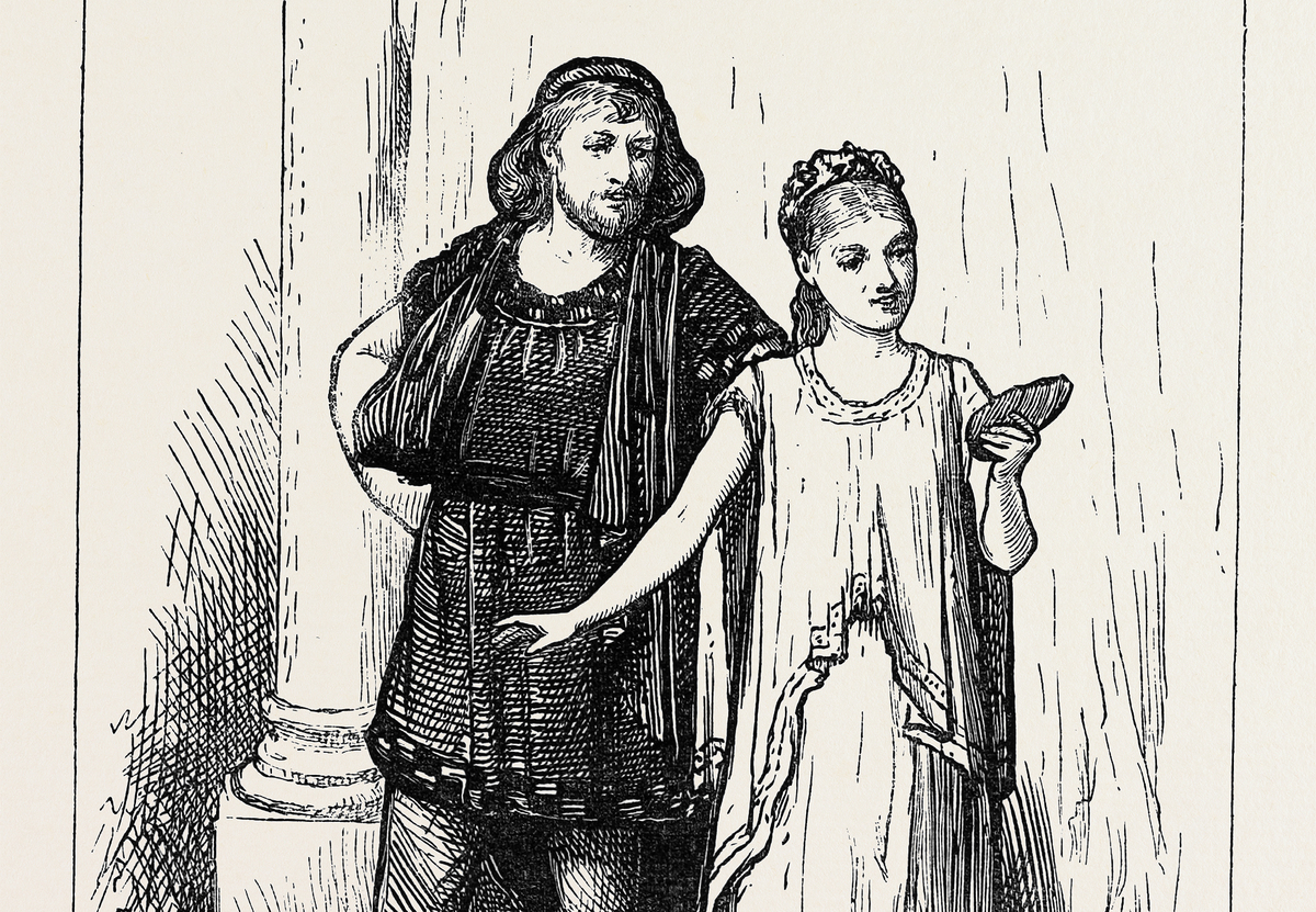 In this drawing, Pygmalion examines his statue of a woman.