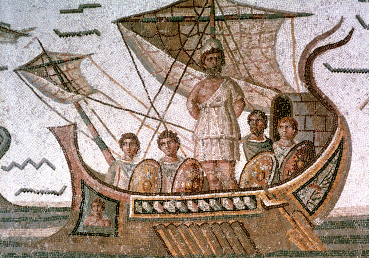 In this Roman mosaic, Odysseus is tied to the mast of a ship to prevent him from swimming toward the sirens.