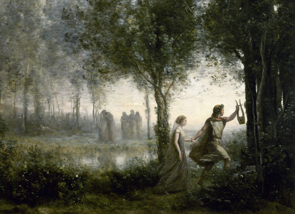 An 1861 painting depicts Orpheus leading Eurydice out of the Underworld.