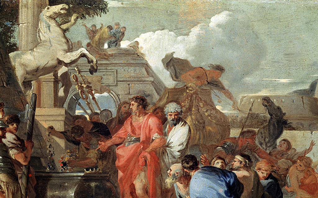 Augustus visiting Alexander's tomb