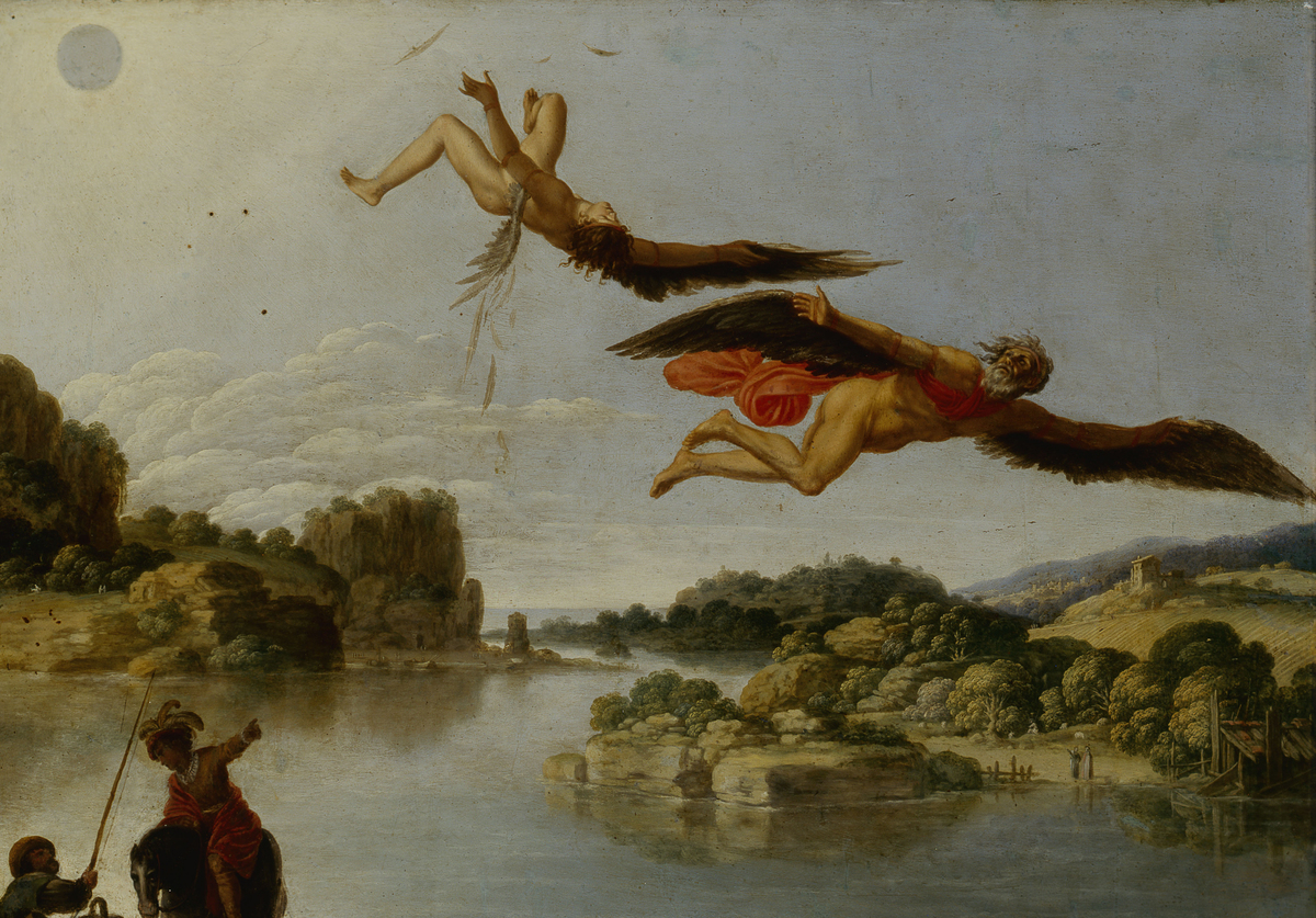 A painting by Carlo Saraceni shows Icarus falling from the sky.