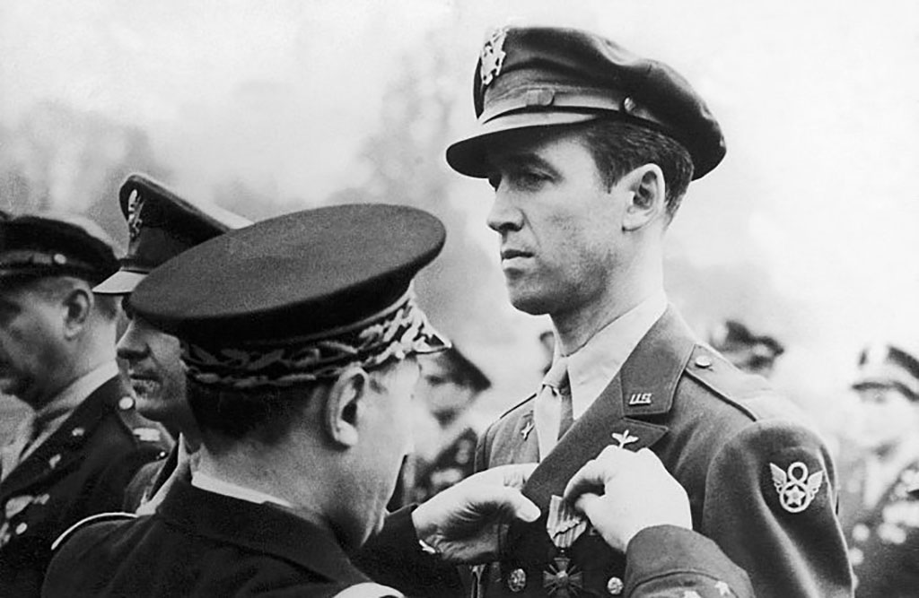 Stewart being awarded a medal