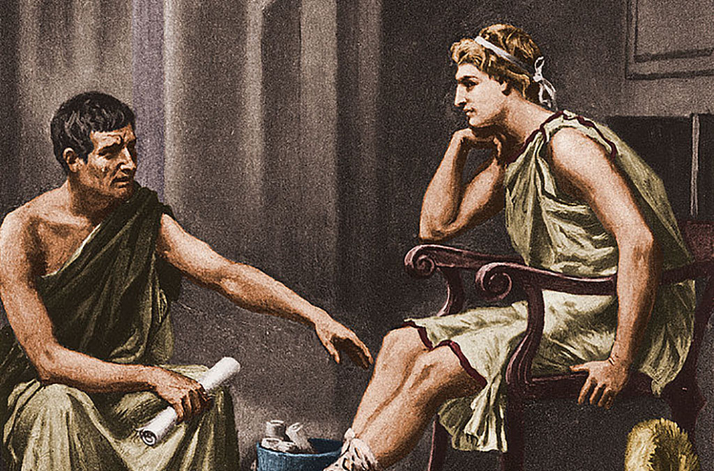 Alexander talking to Aristotle