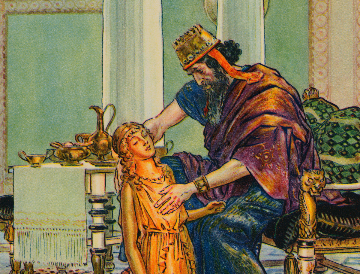 In this artwork, King Midas sees his daughter turned to gold.