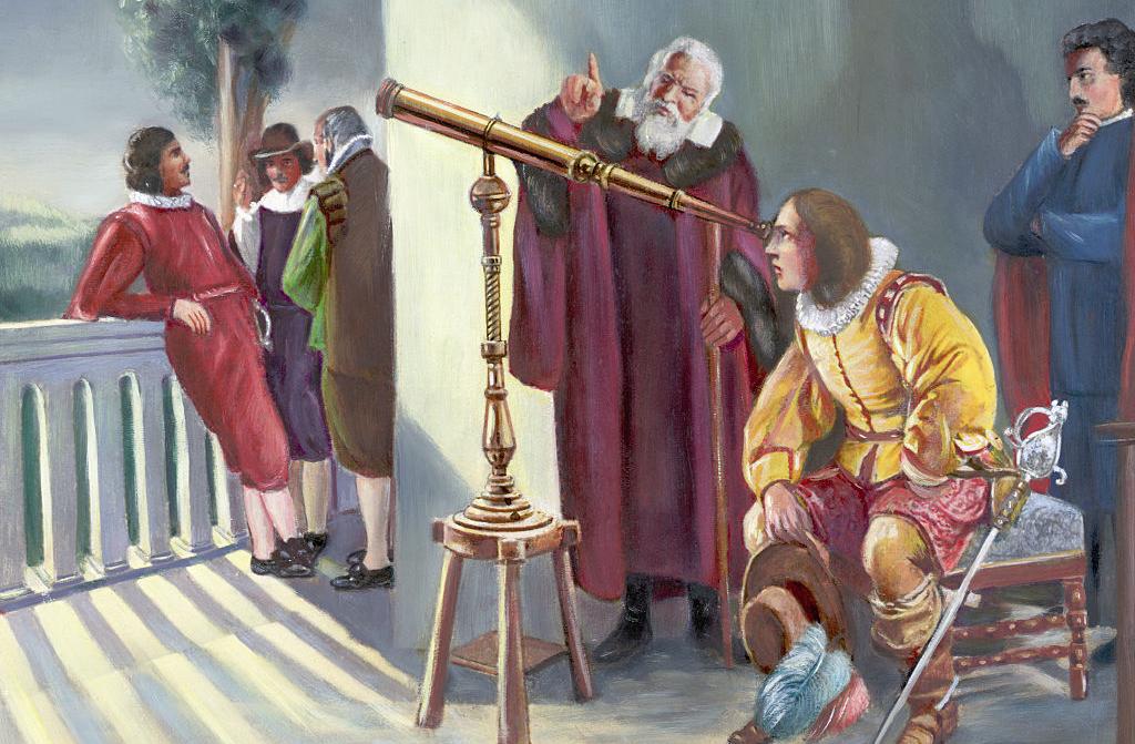 Galileo showing Milton his telescope