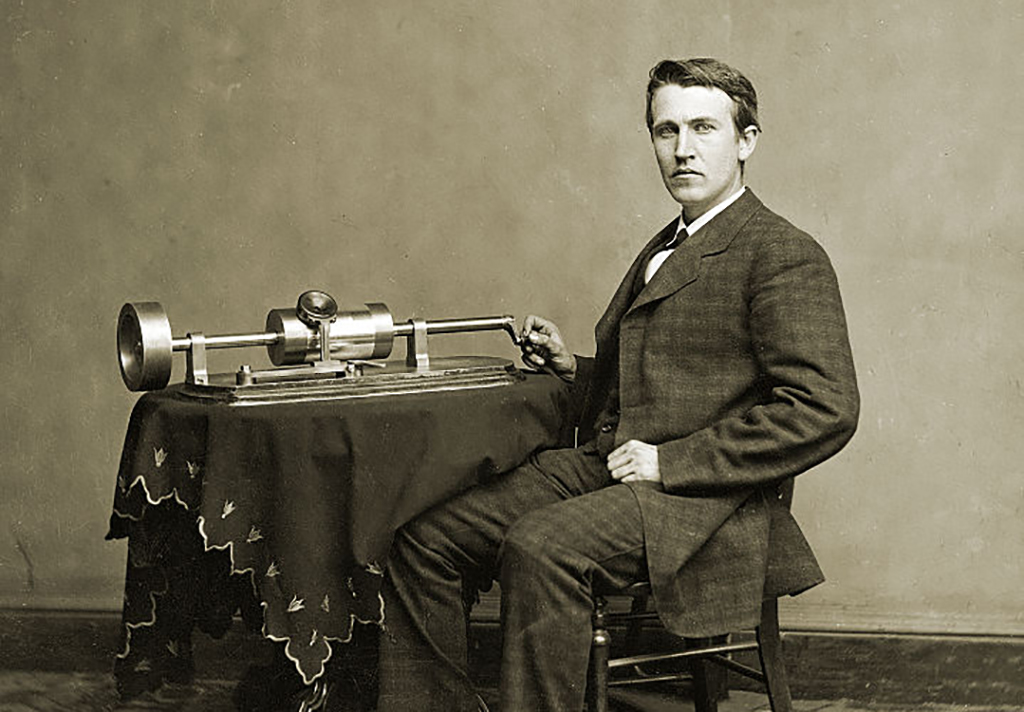 Thomas Edison with his phonograph