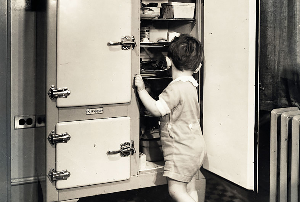 Child and a refrigerator