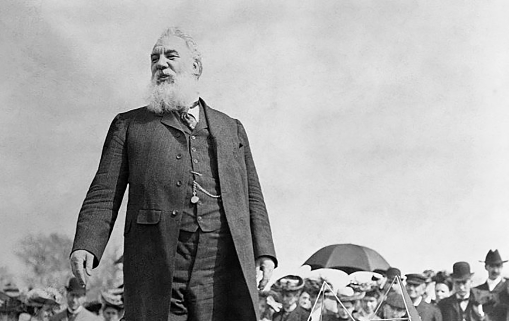 Alexander Graham Bell making a speech