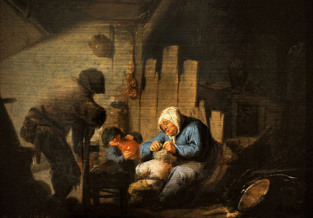Painting of woman clearing lice