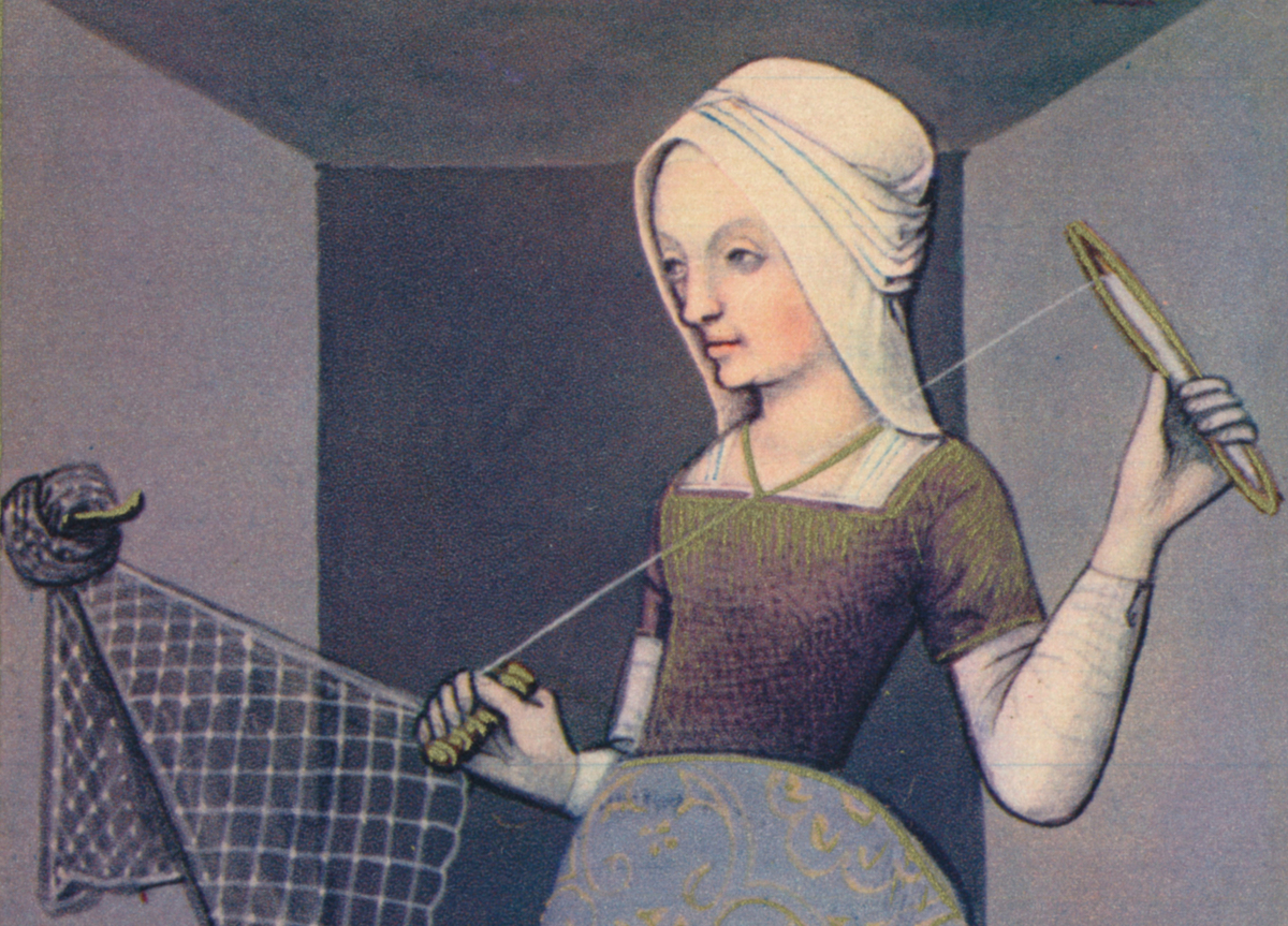 An illustration depicts Arachne weaving.