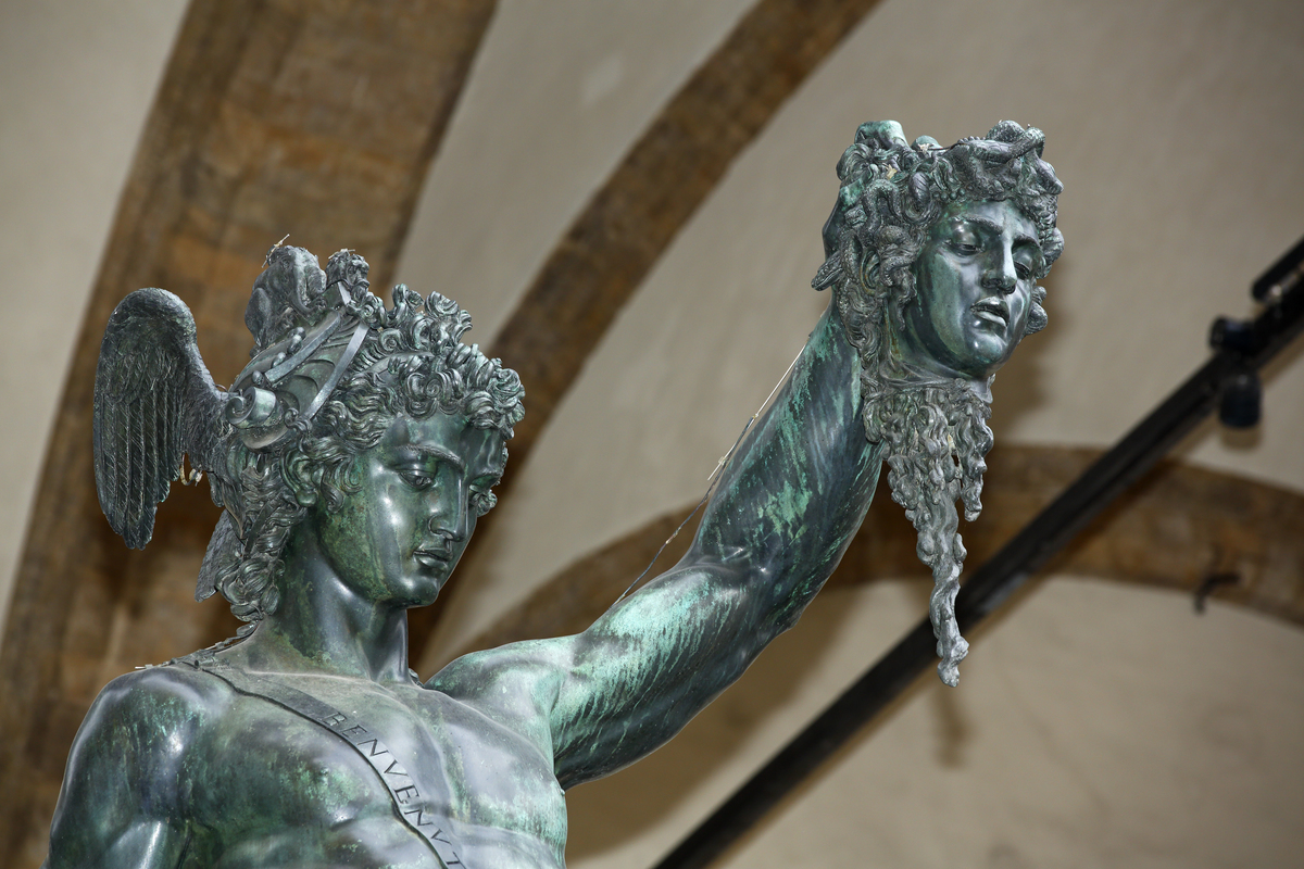An Italian statue portrays Perseus holding the head of Medusa.