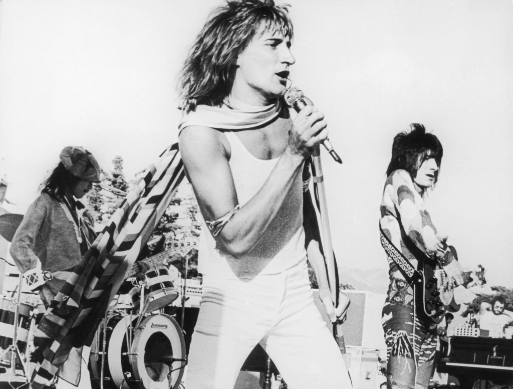 Rod Stewart sings during a concert with The Faces.