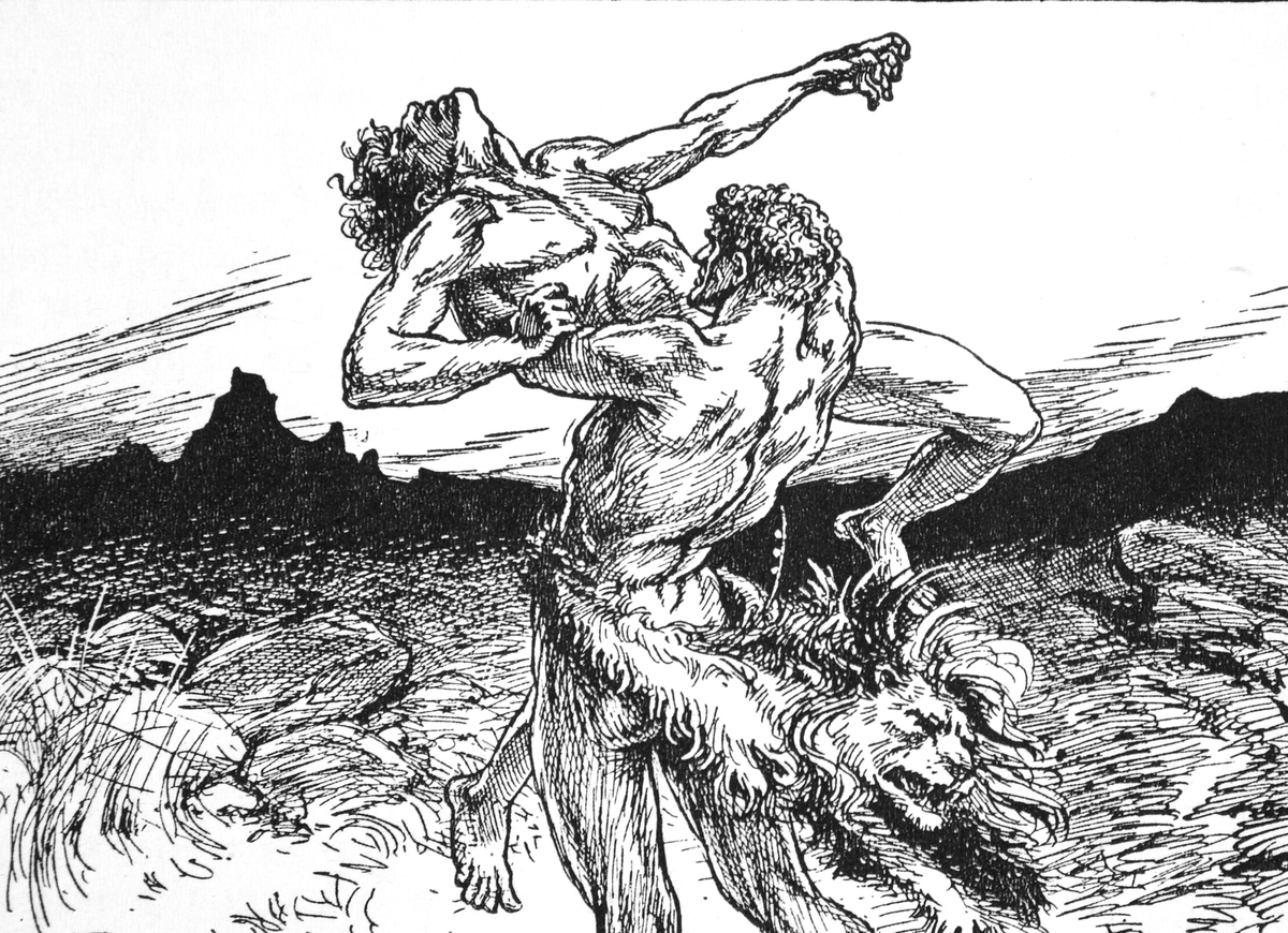 An illustration in a 1925 book of myths portrays Hercules wrestling Antaeus.