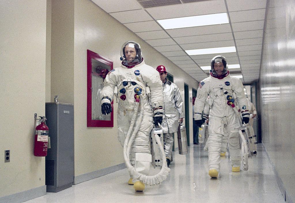 Aldrin walking in his space suit