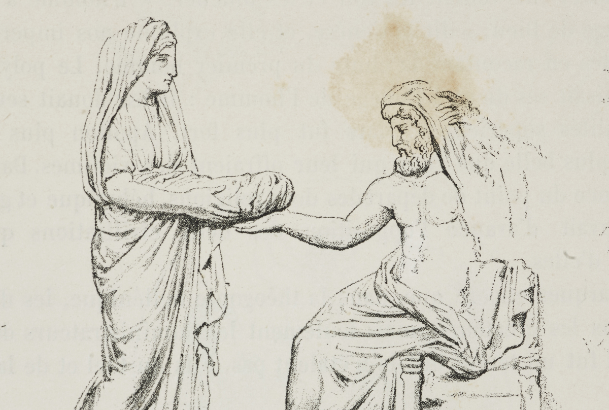 In this Roman bas relief, Rhea gives Cronus a stone wrapped in cloth instead of her child.