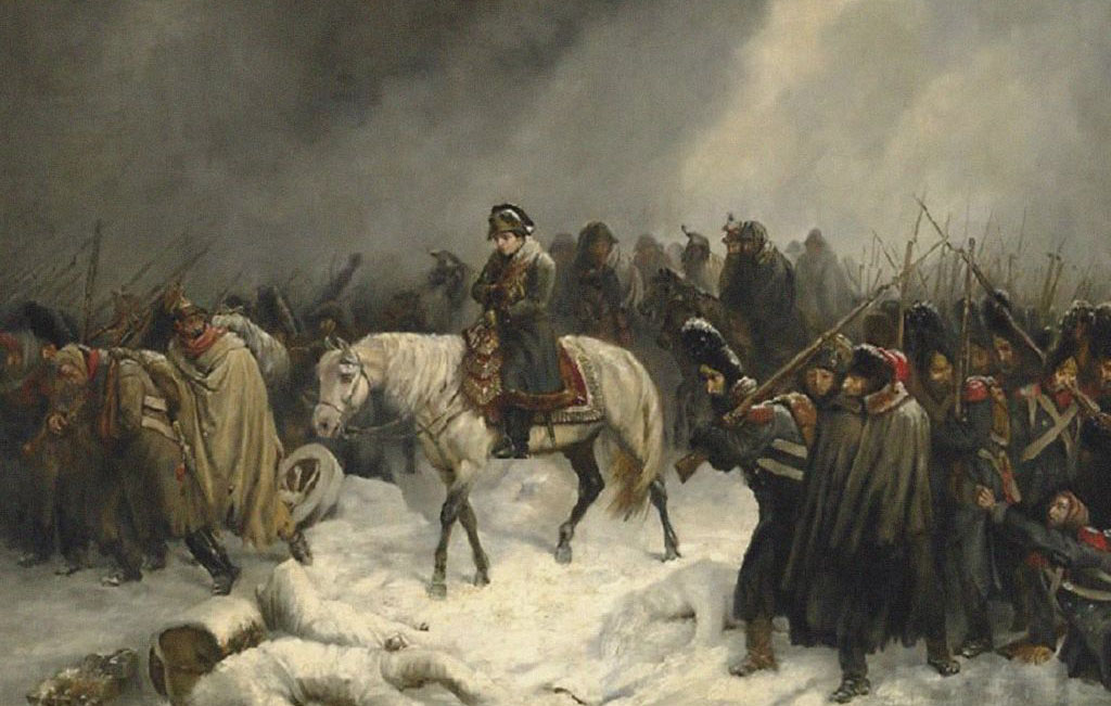 Napoleon and his troops in Russia