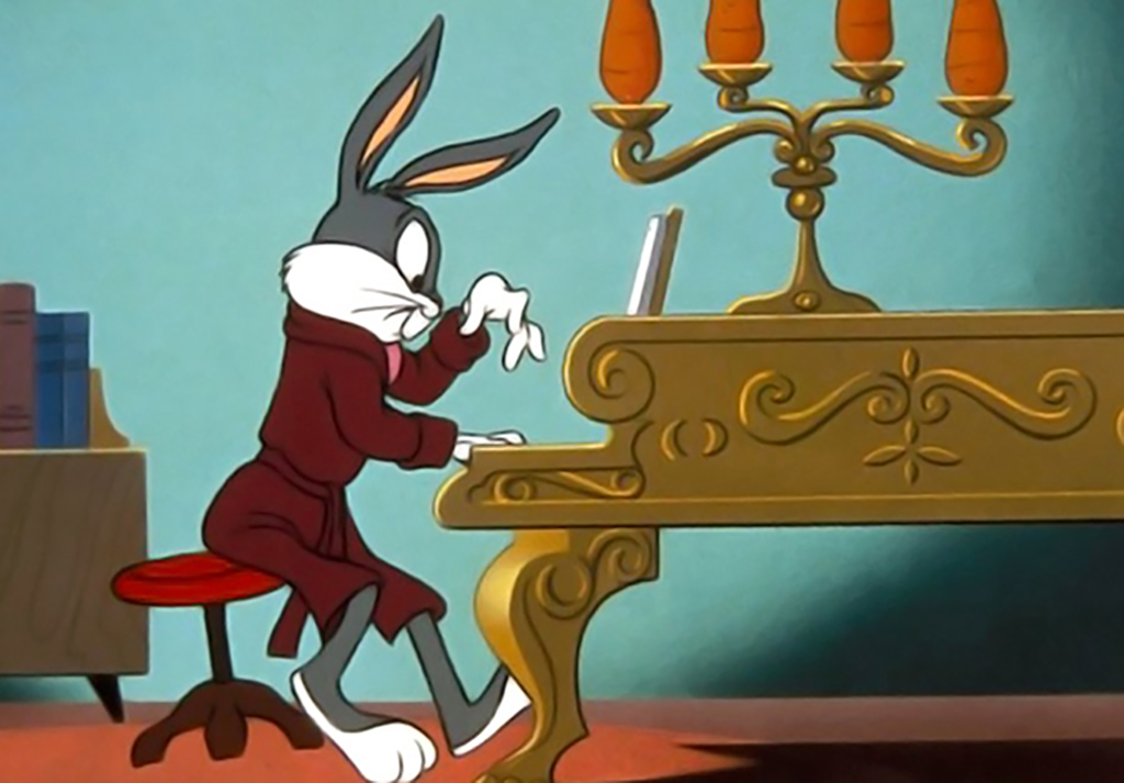 Bugs Bunny playing the piano