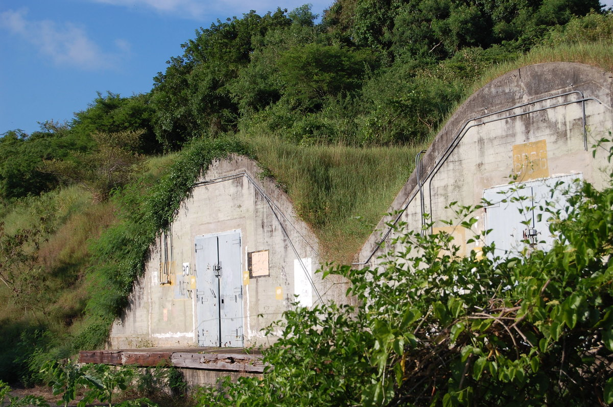 Bunkers built into a hill are seen on Vieques Island.