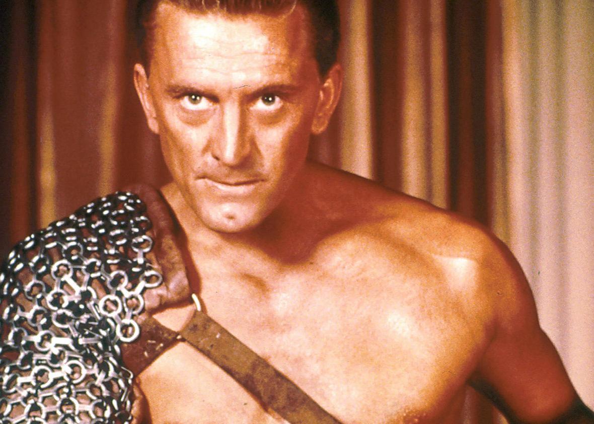 kirk douglas posing for spartacus