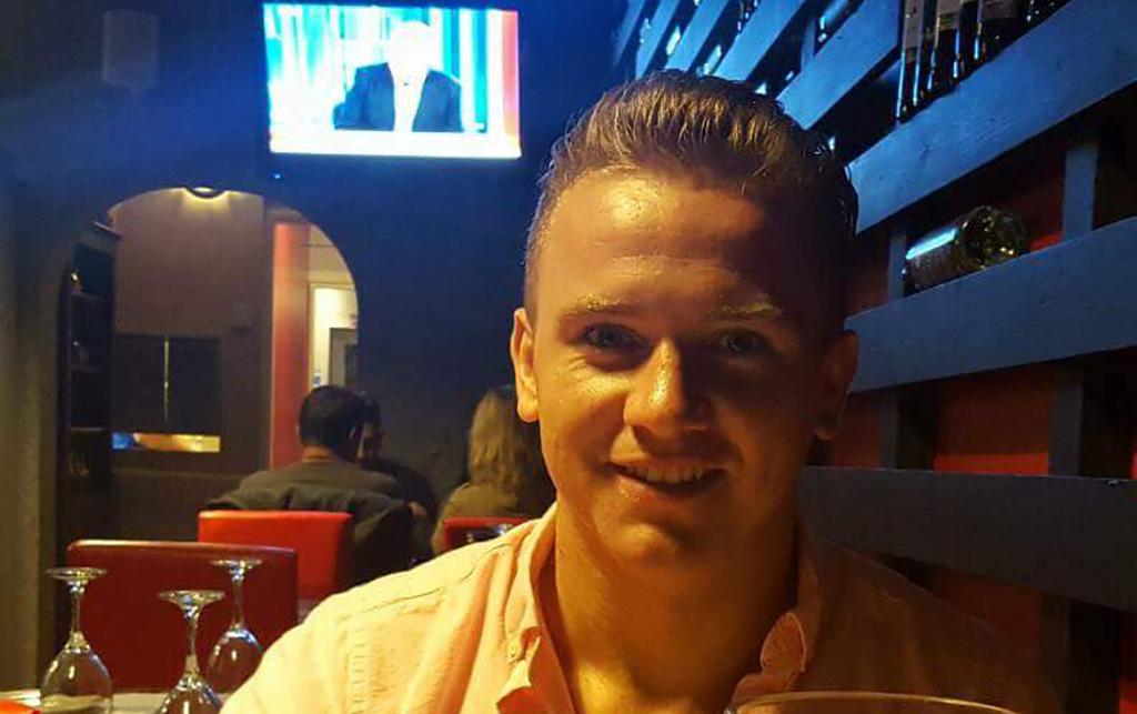 Corey in a restaurant