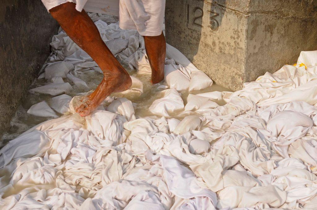 Man doing white laundry