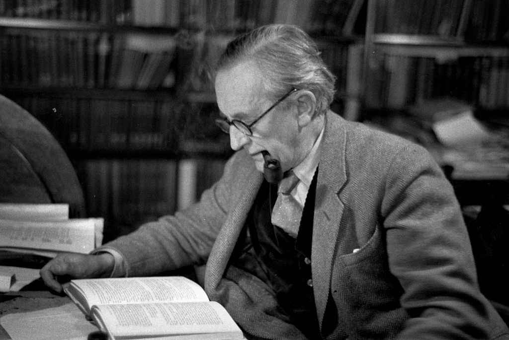 Tolkien reading a book