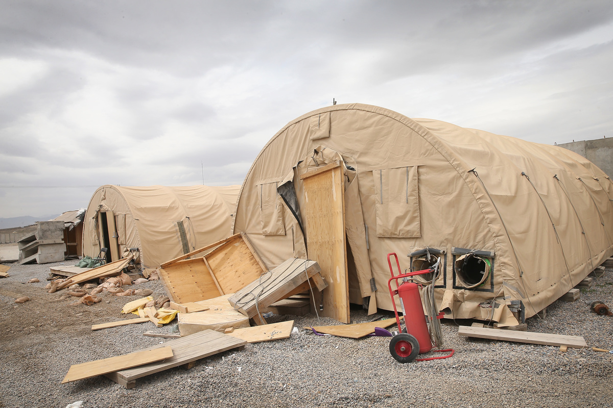 Abandoned tents are partially torn down at the Forward Operating Base Shank in Afghanistan.