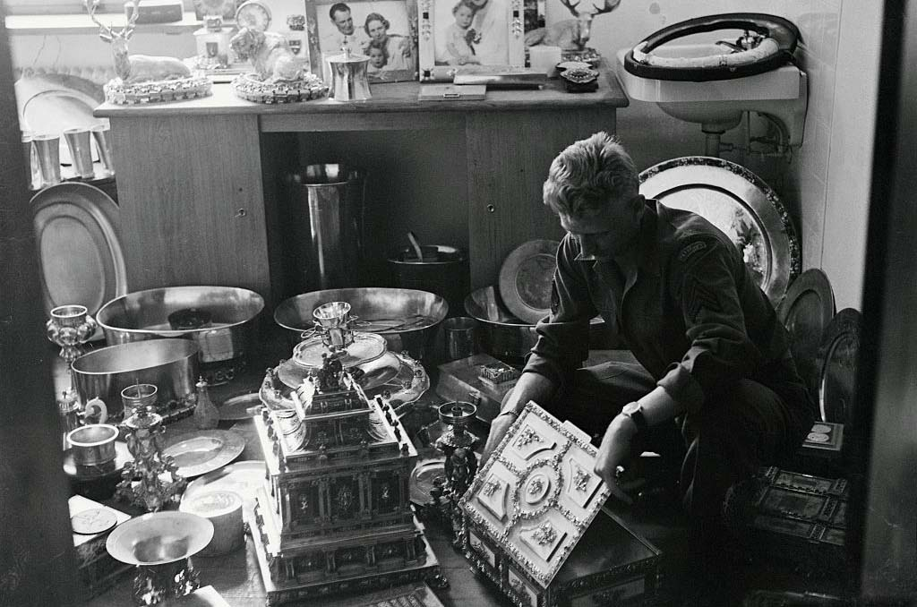 Man looking through collection