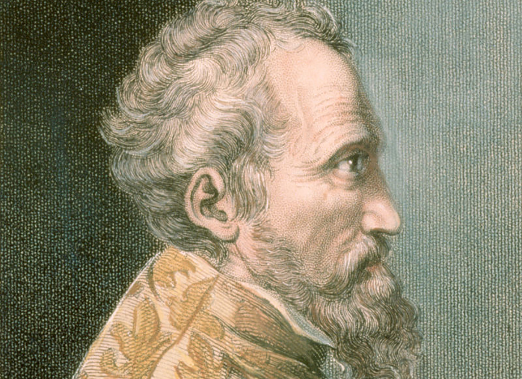 Profile portrait of Michelangelo