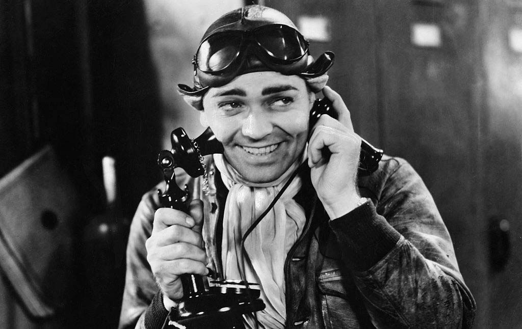 Gable talking on the phone in a movie
