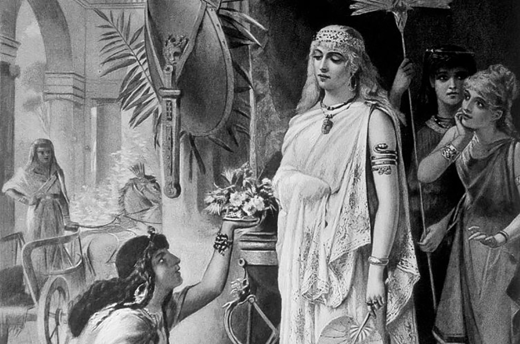 Cleopatra accepting a gift