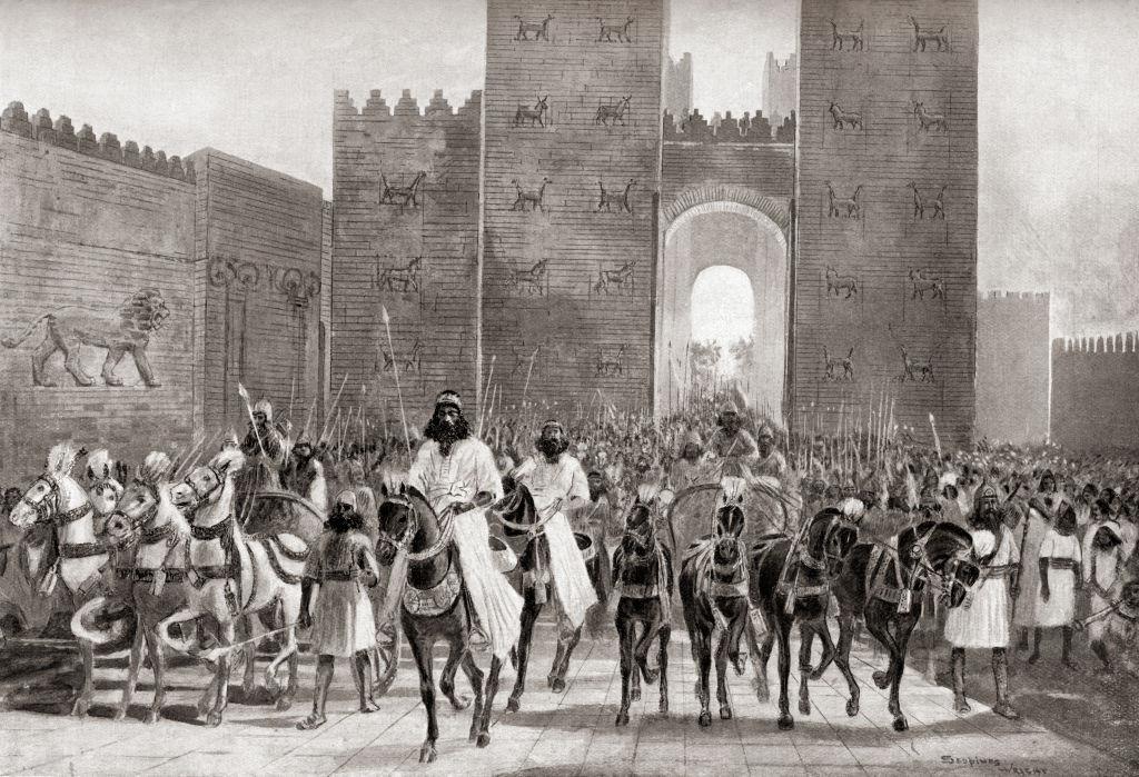 Cyrus entering a city