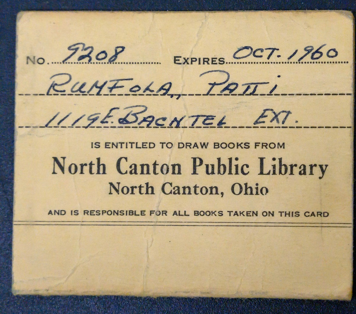 Patti's library card for north canton public library
