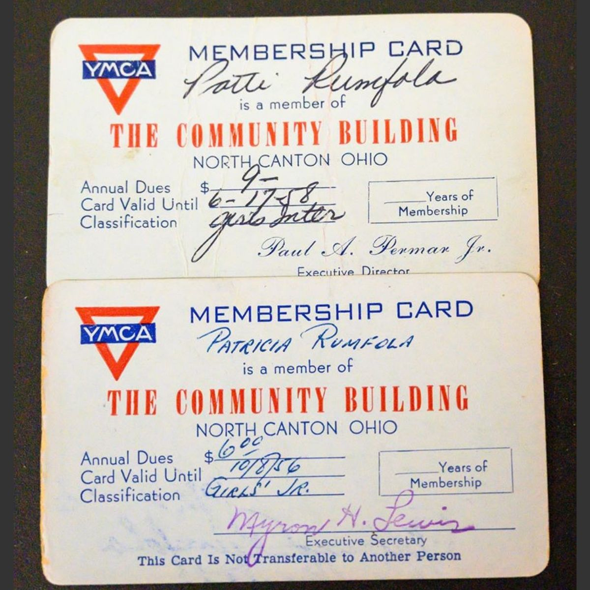 YMCA membership cards for patti, one expired