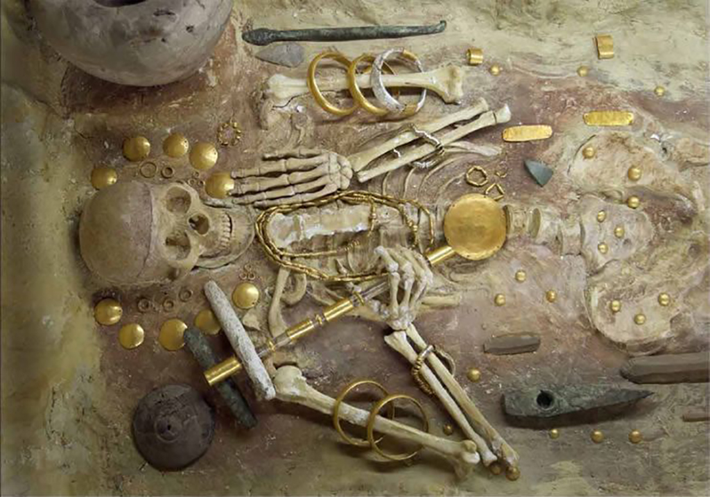 Skeleton with gold
