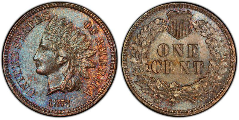 1873 Doubled Closed 3 Indian Head Penny