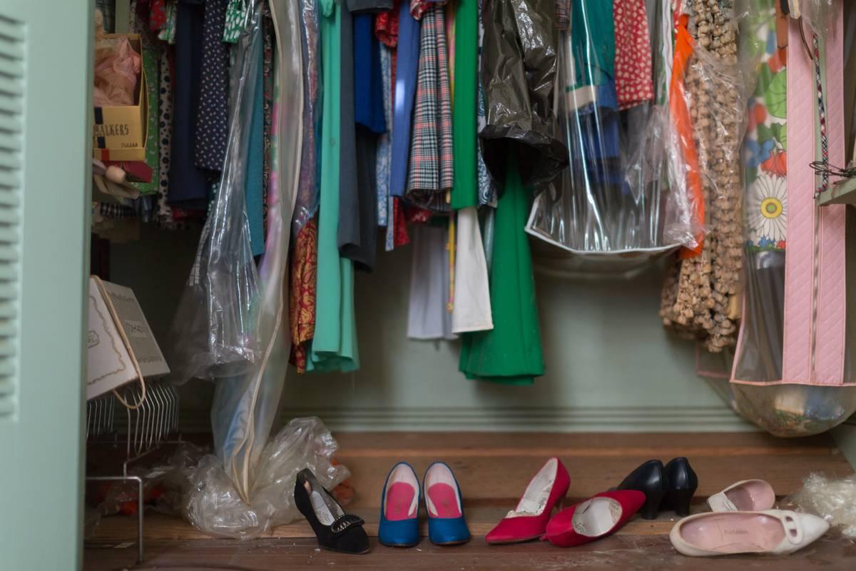 This photo shows a closeup of a woman's closet.