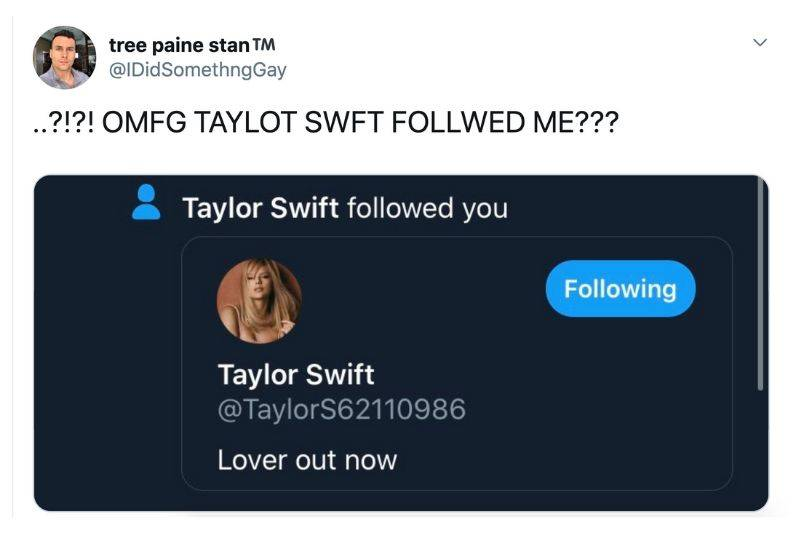 someone thought they were being followed by Taylor Swift