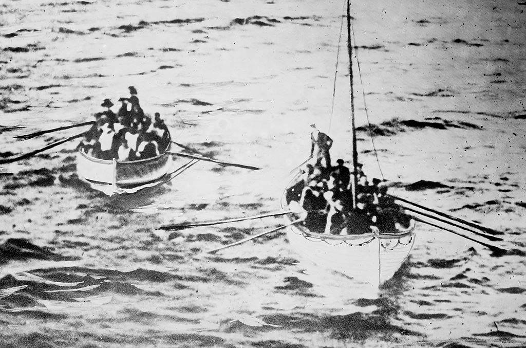Lifeboats on the ocean