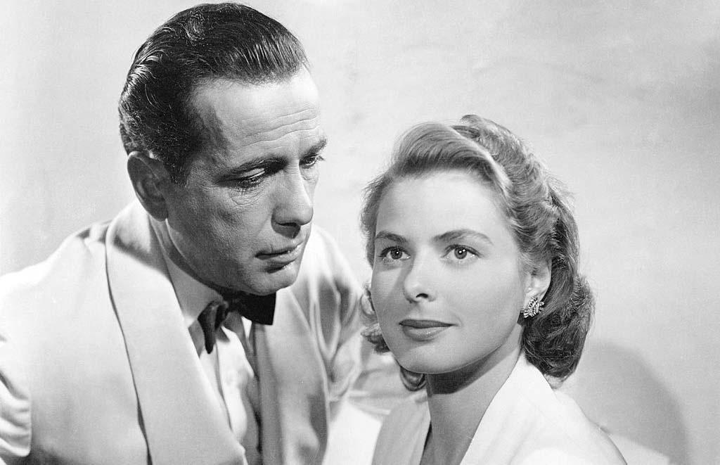 Bogart and Bergman on set