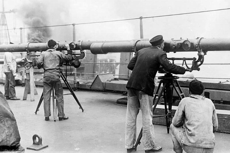 Men looking through scopes