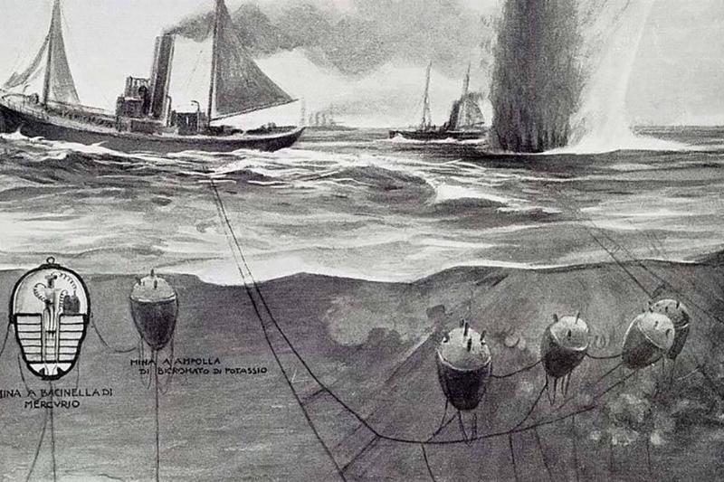 Illustration of naval mines