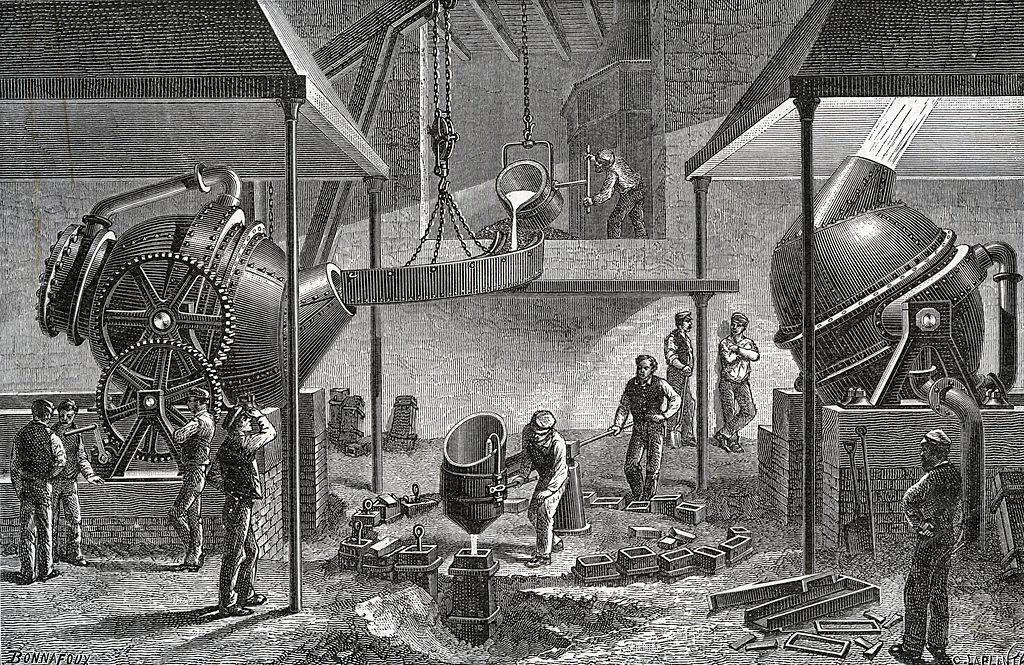 Men making steel