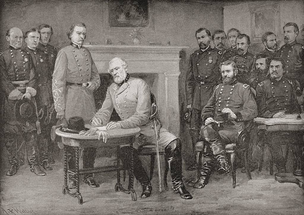 Lee signing his surrender