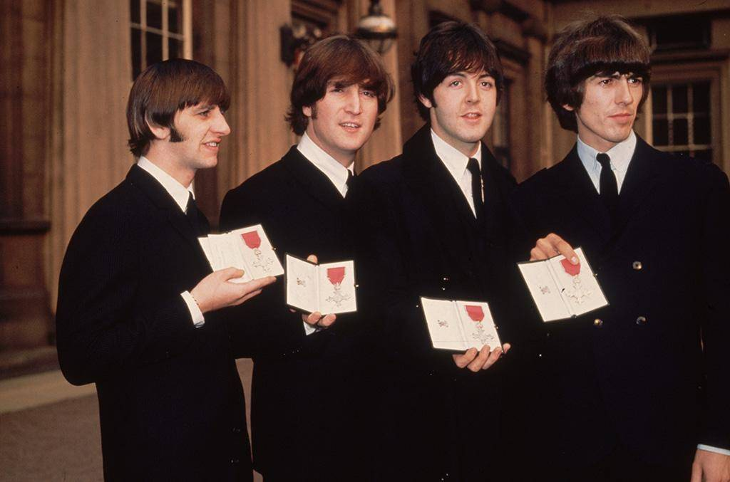 Beatles with MBE medals