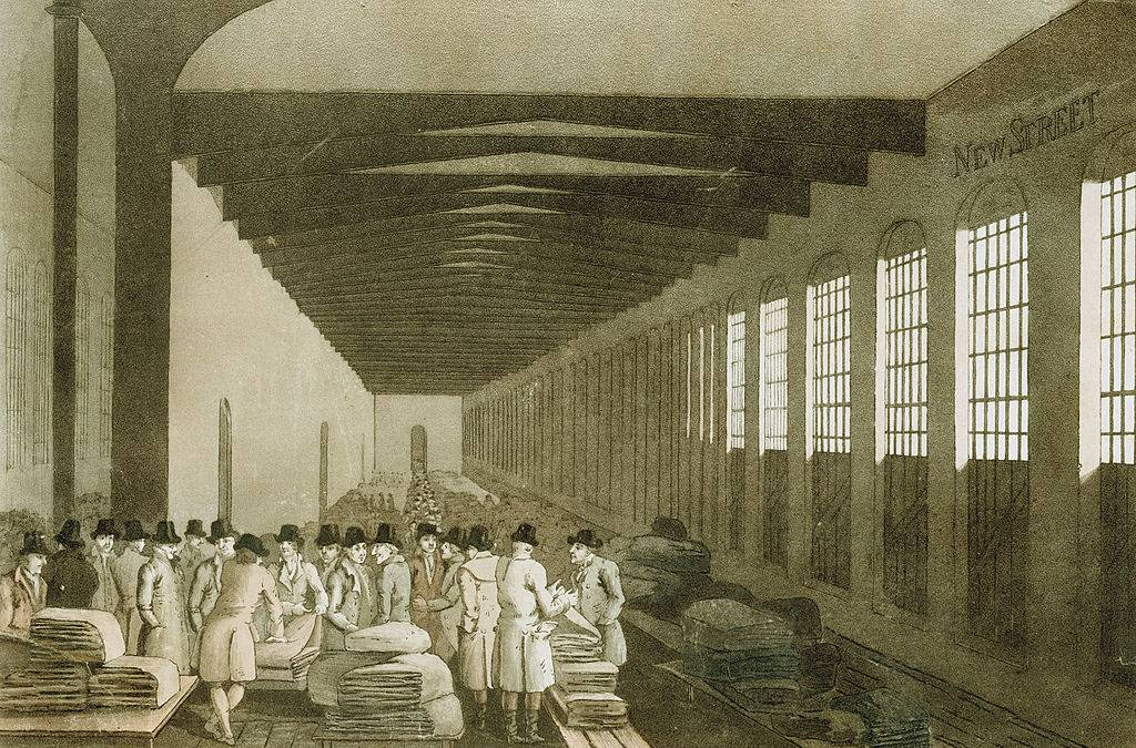 Merchants in textile factory