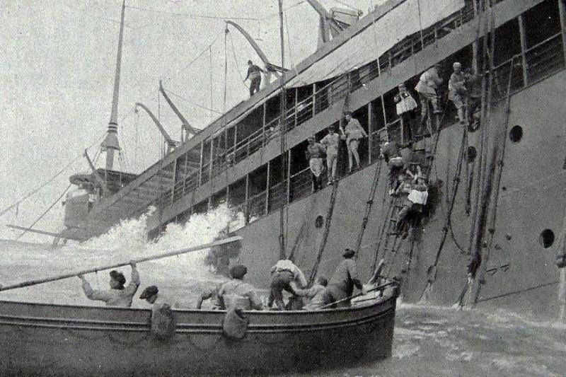 Men jumping ship