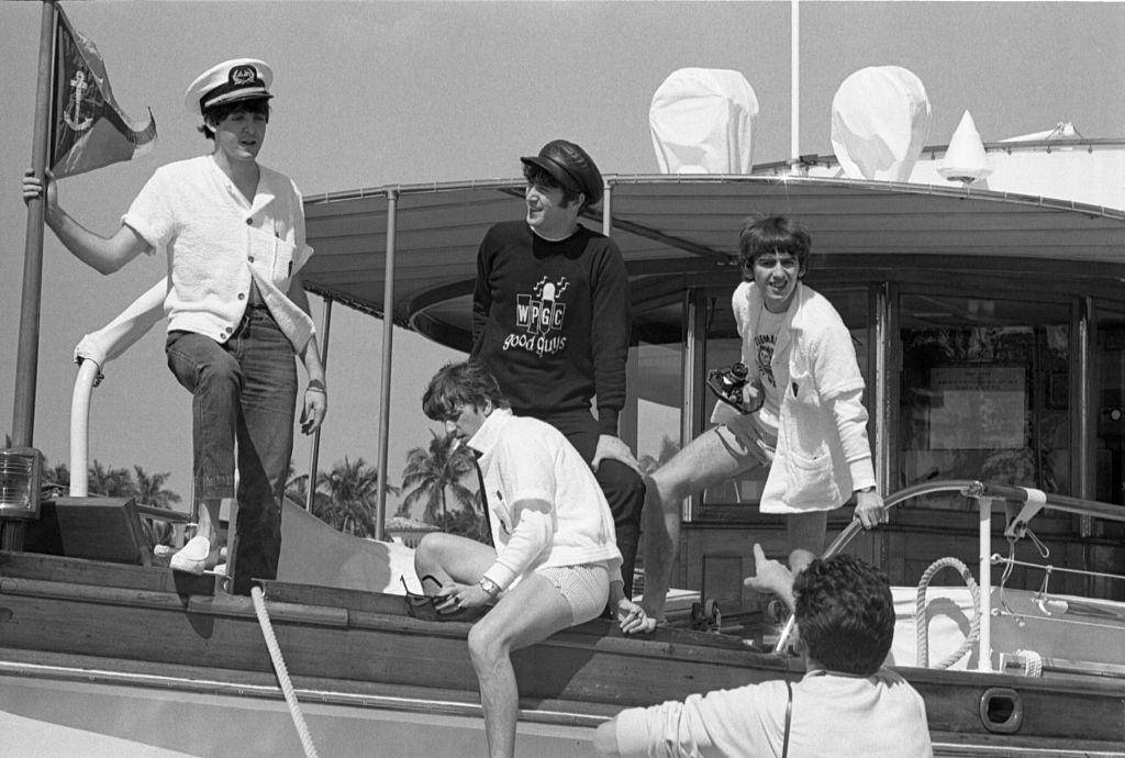 The Beatles on a boat