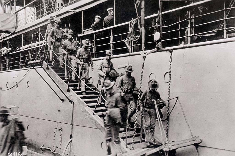 Men getting off ship